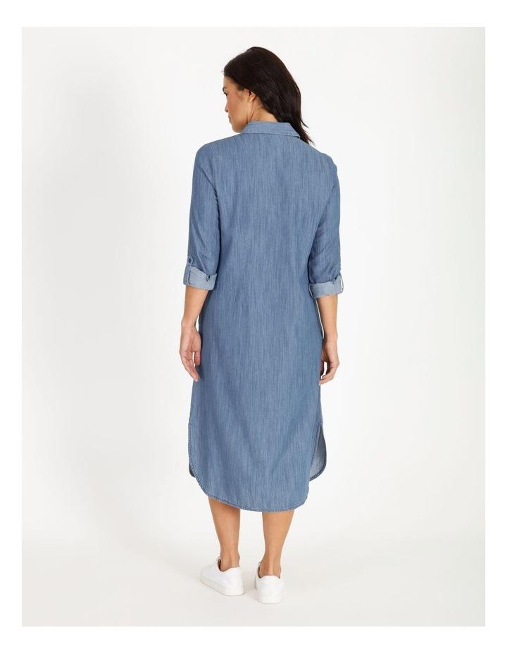 Rolled Sleeve Shirt Dress - Indigo image 3