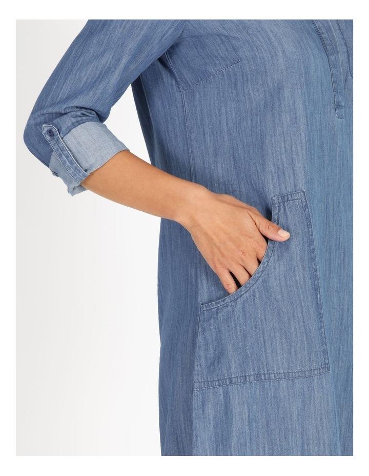 Rolled Sleeve Shirt Dress - Indigo image 4