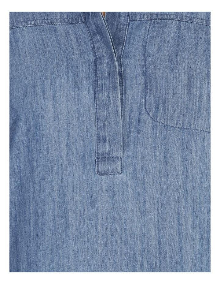 Rolled Sleeve Shirt Dress - Indigo image 5
