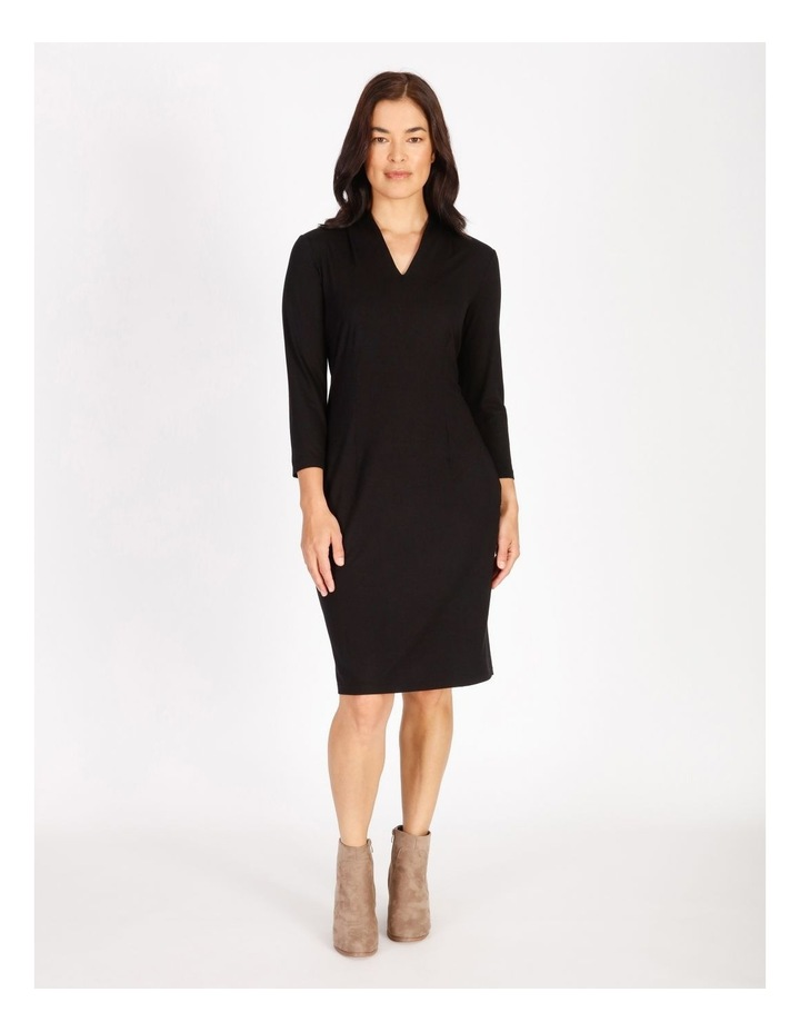 Burnished Tucked V-Neck 3/4 Sleeve Dress image 1