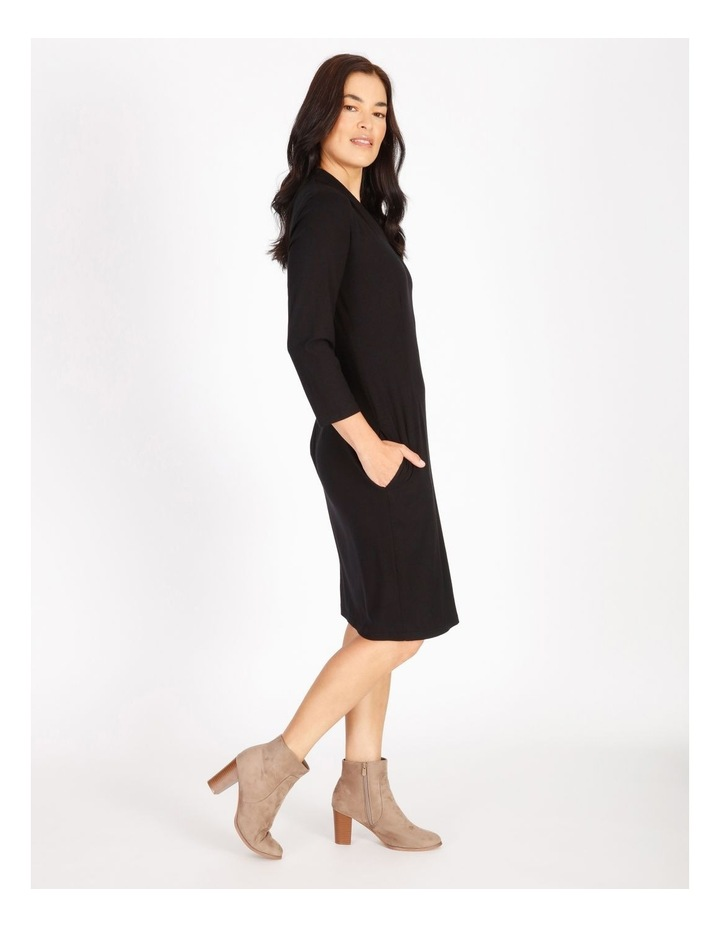 Burnished Tucked V-Neck 3/4 Sleeve Dress image 2