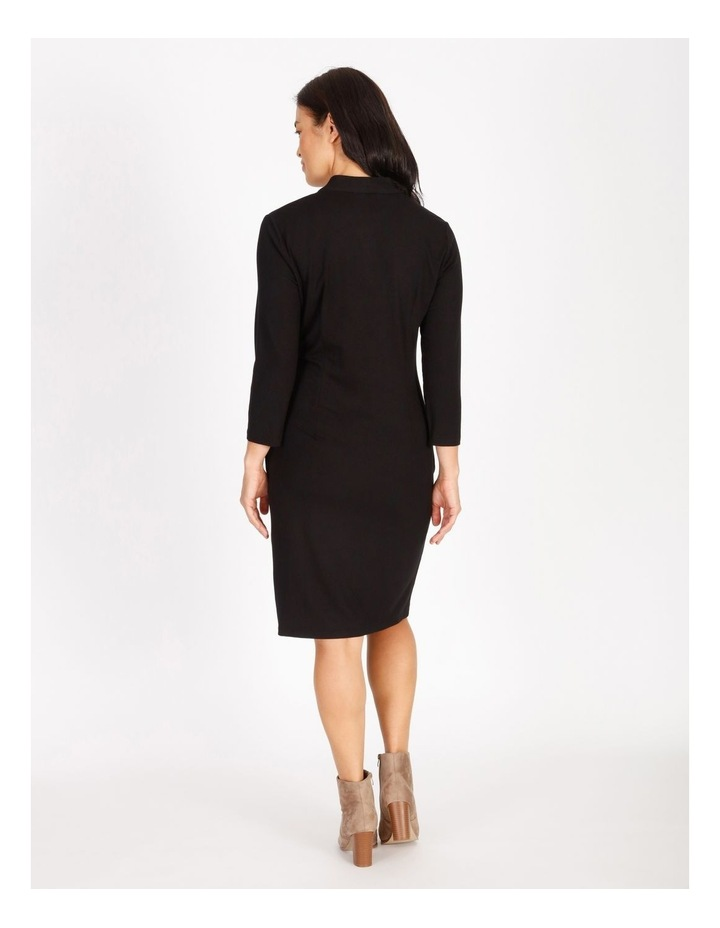 Burnished Tucked V-Neck 3/4 Sleeve Dress image 3