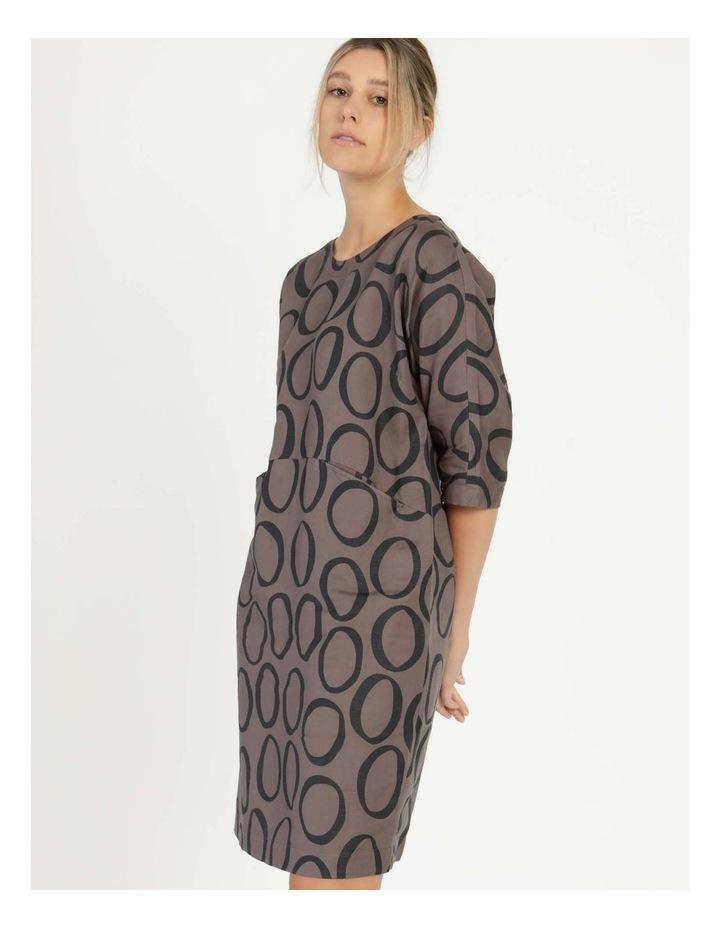 Grey Ring Print Asymmetrical Dress image 1