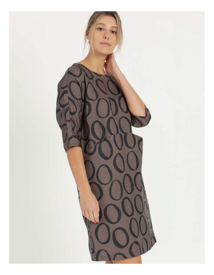 Grey Ring Print Asymmetrical Dress image 3