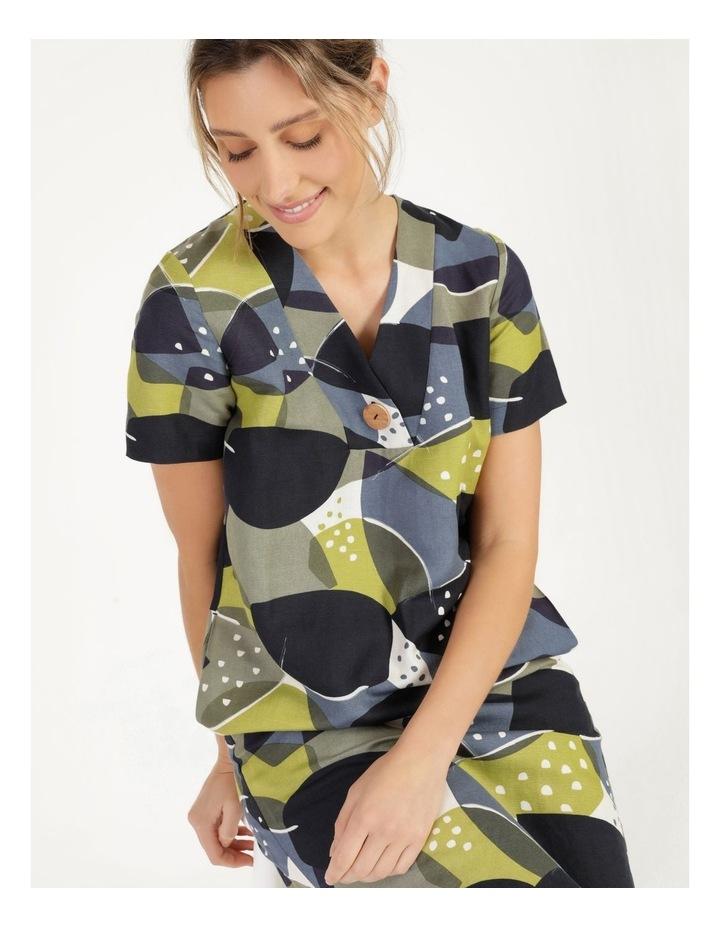 Short Sleeve V Neck Button Dress Navy/Avocado image 1