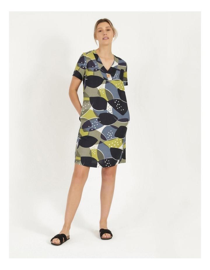 Short Sleeve V Neck Button Dress Navy/Avocado image 2