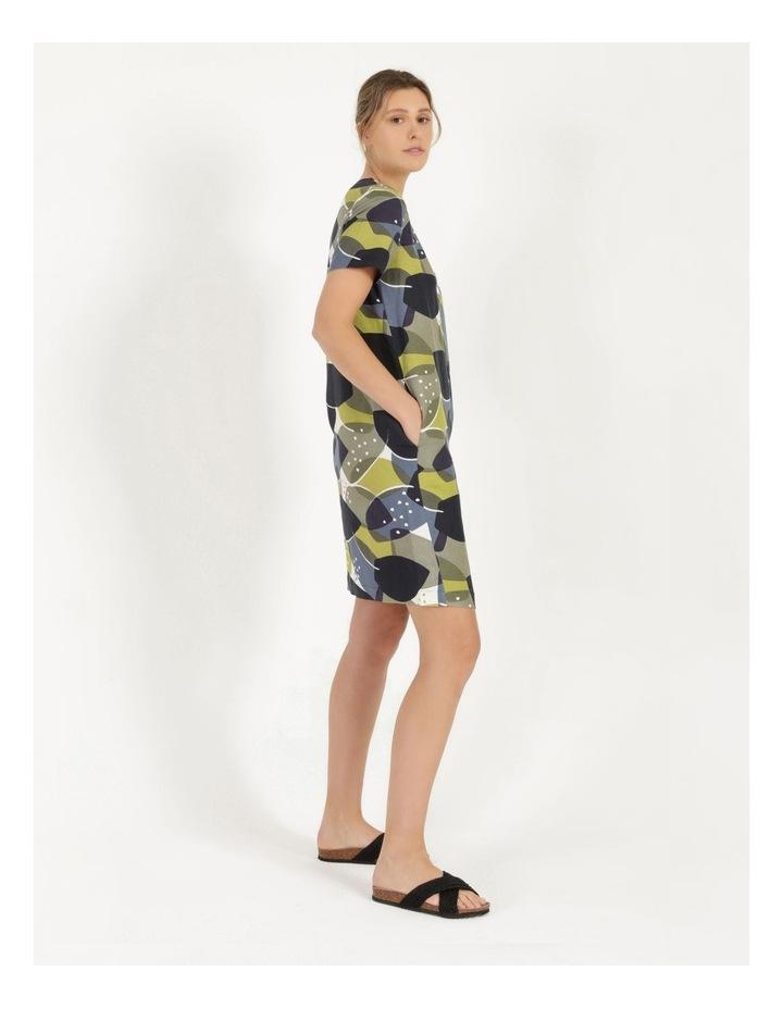 Short Sleeve V Neck Button Dress Navy/Avocado image 3