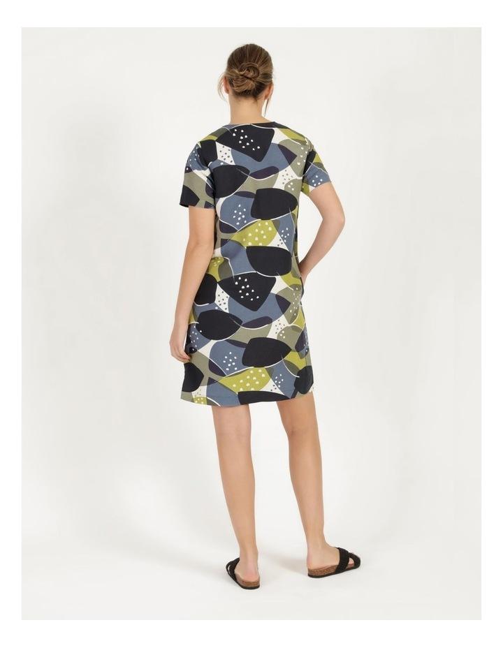 Short Sleeve V Neck Button Dress Navy/Avocado image 4