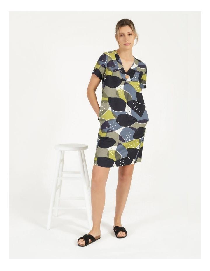 Short Sleeve V Neck Button Dress Navy/Avocado image 5