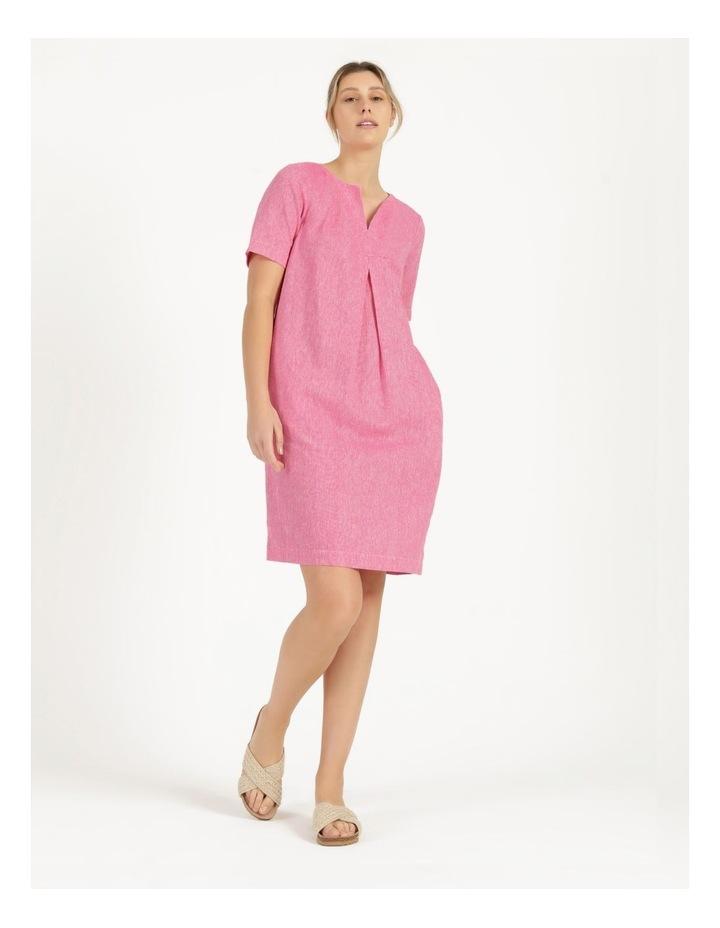 Short Sleeve Split Neck Front Tuck Dress Hot Pink image 1