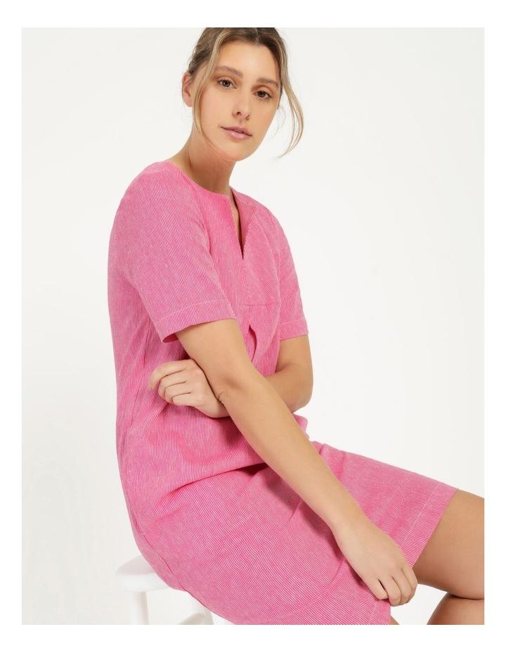 Short Sleeve Split Neck Front Tuck Dress Hot Pink image 2