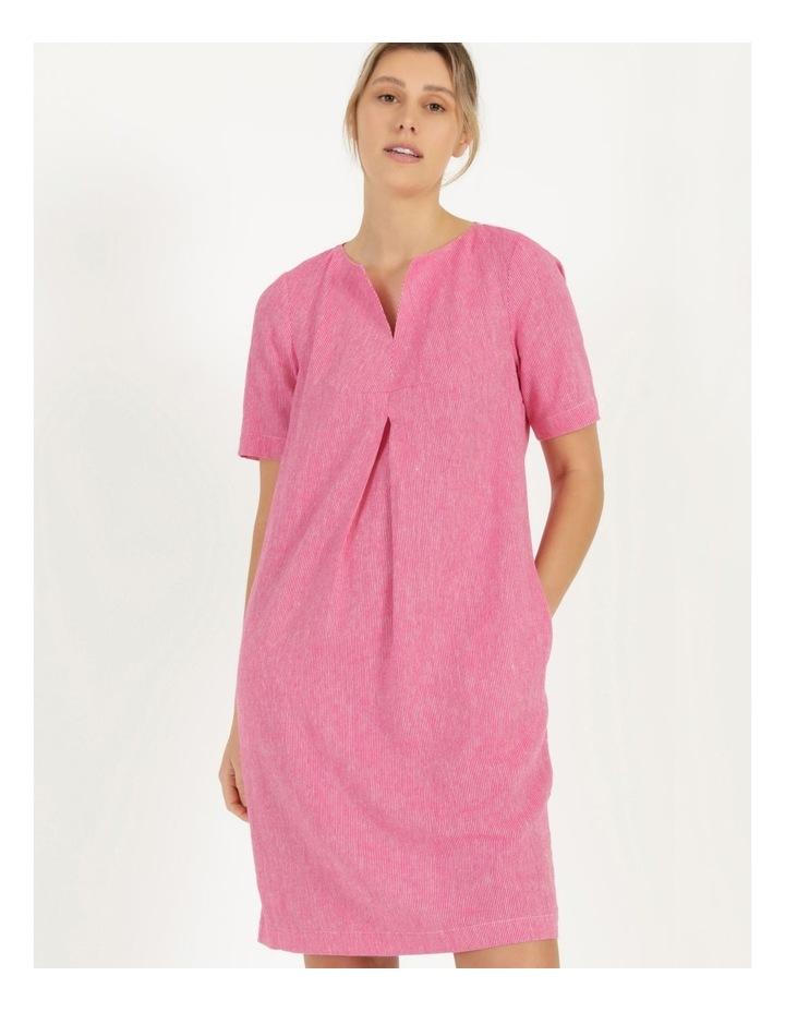 Short Sleeve Split Neck Front Tuck Dress Hot Pink image 3