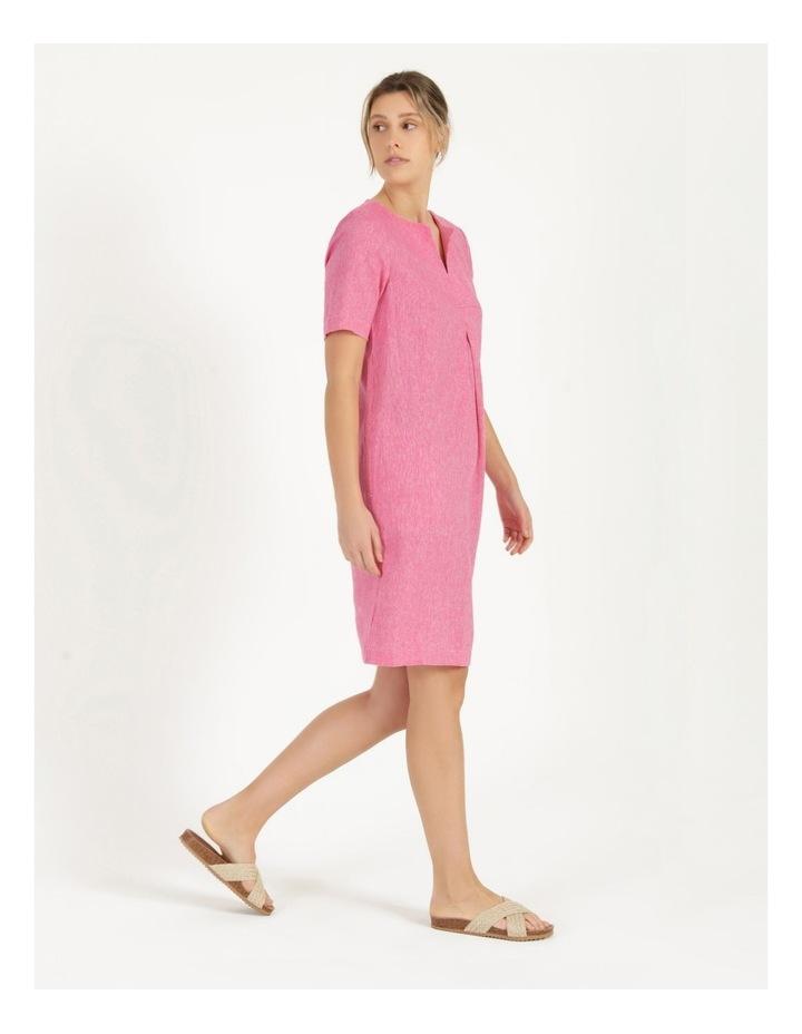 Short Sleeve Split Neck Front Tuck Dress Hot Pink image 4