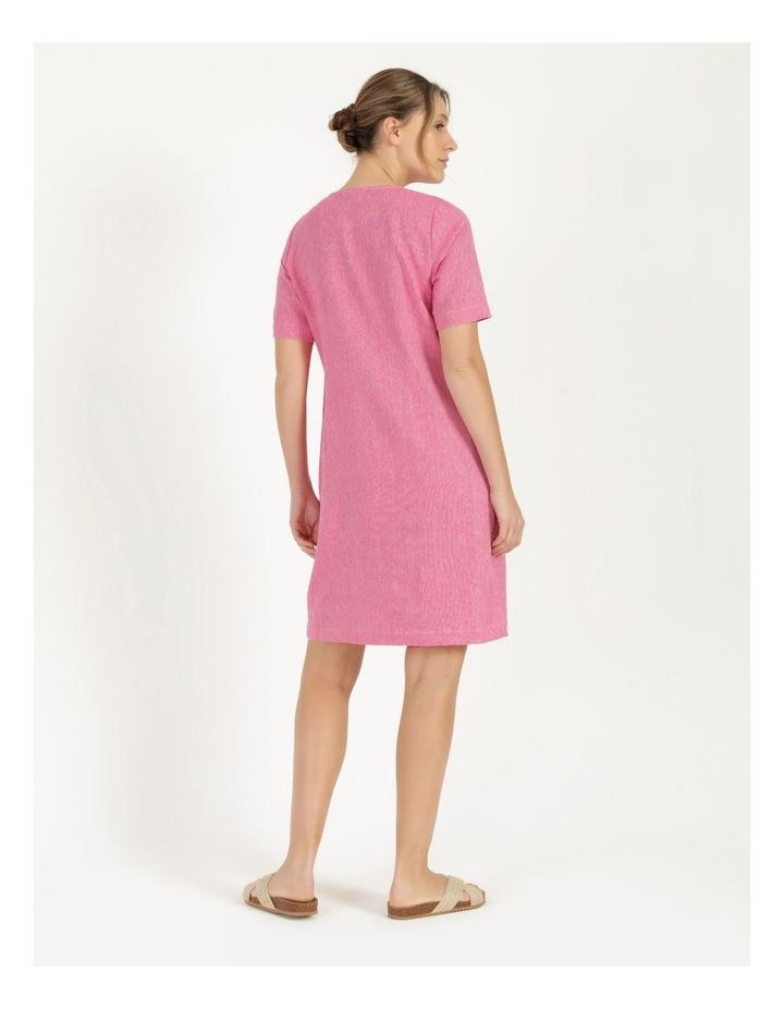 Short Sleeve Split Neck Front Tuck Dress Hot Pink image 5
