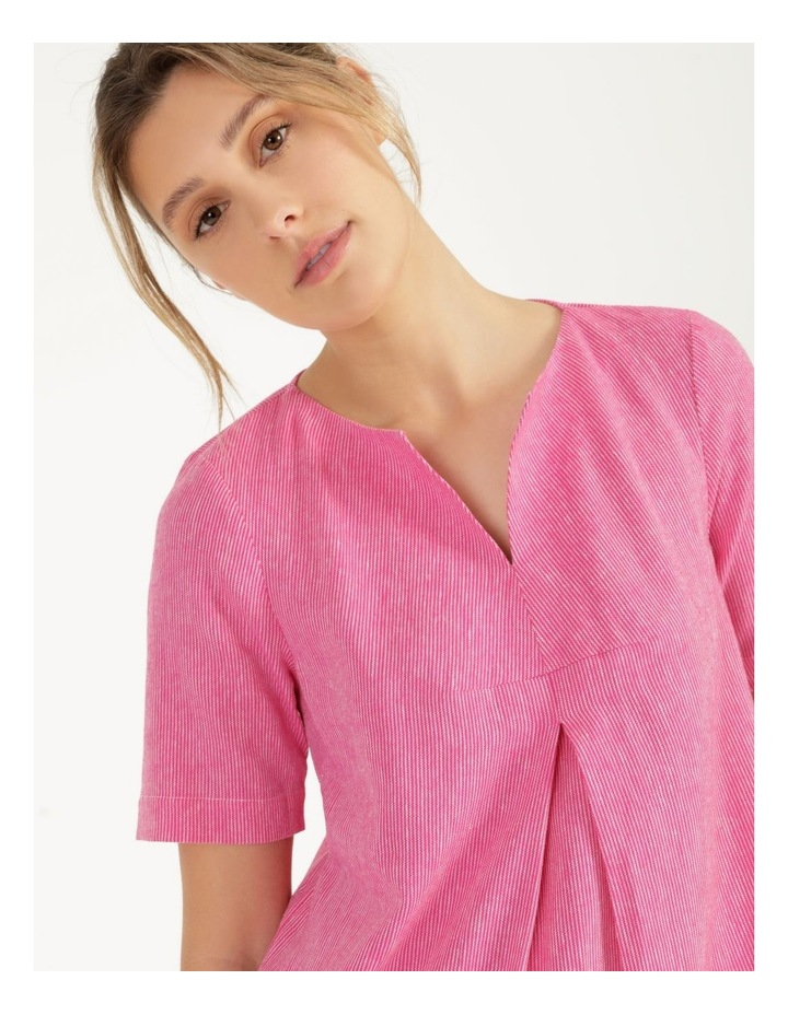Short Sleeve Split Neck Front Tuck Dress Hot Pink image 6