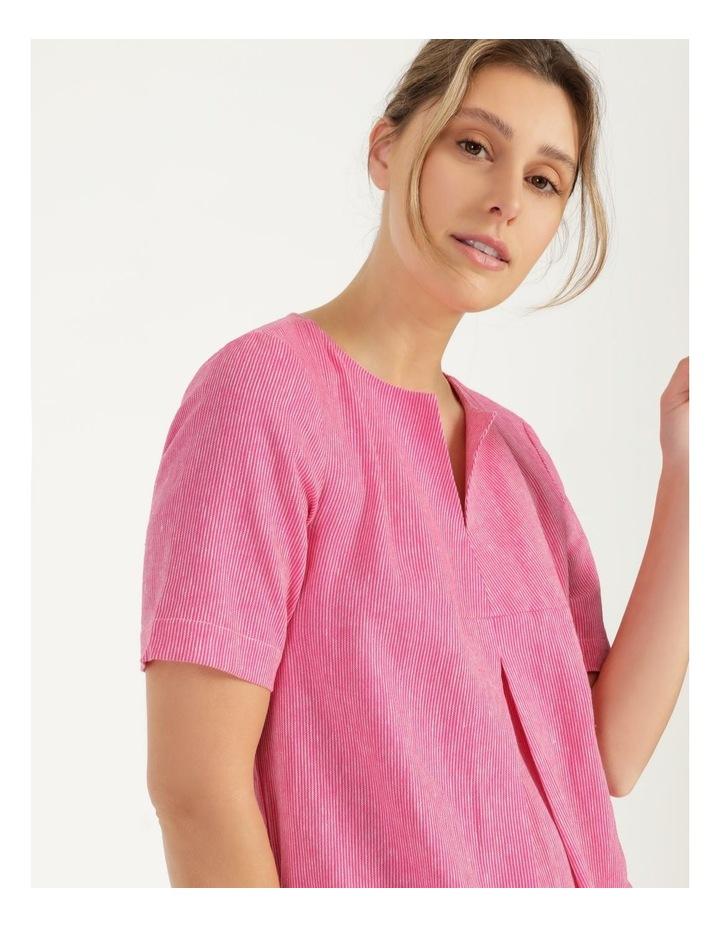Short Sleeve Split Neck Front Tuck Dress Hot Pink image 7