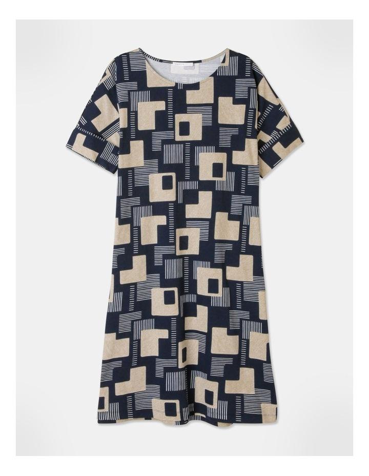 Short Sleeve Tee Fold Up Cuff Dress Navy/Geo image 1