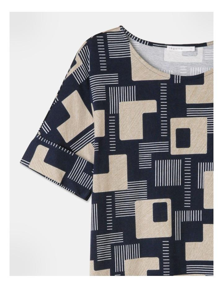 Short Sleeve Tee Fold Up Cuff Dress Navy/Geo image 2