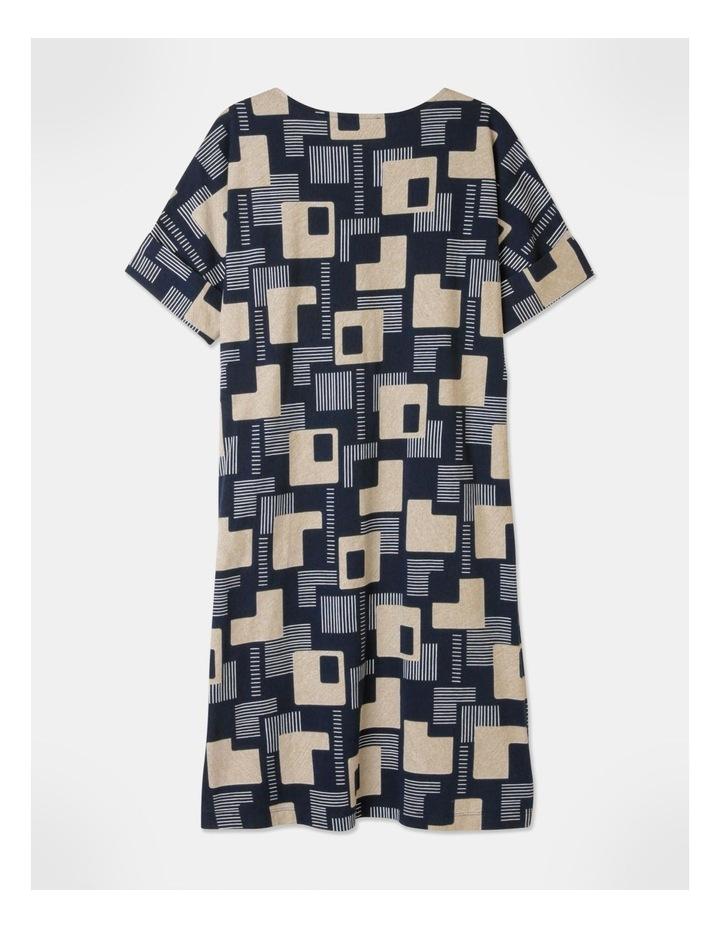 Short Sleeve Tee Fold Up Cuff Dress Navy/Geo image 3