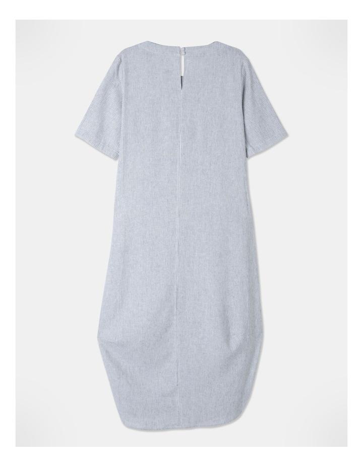 Short Sleeve Asymmetrical Pocket & Curved Hem Dress White/Indigo Stripe image 3