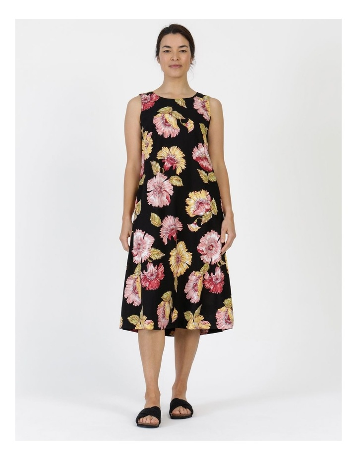 Sleeveless Midi Length Dress Black Big Floral image 1