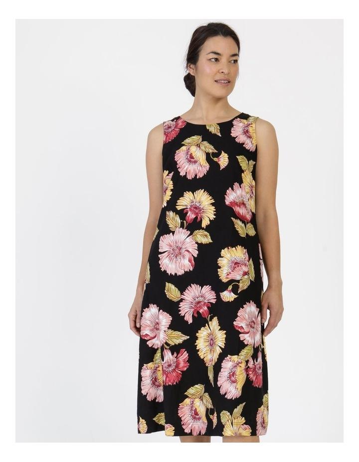 Sleeveless Midi Length Dress Black Big Floral image 4