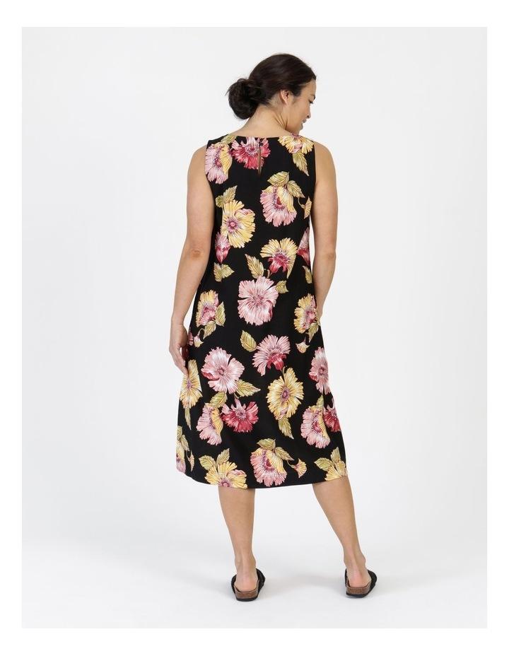 Sleeveless Midi Length Dress Black Big Floral image 5