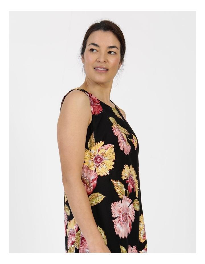 Sleeveless Midi Length Dress Black Big Floral image 6