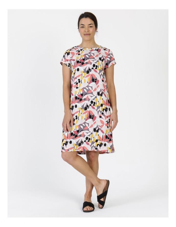 Short Cap Sleeve Side Splits & Pockets Dress Pinks/Black Print image 1