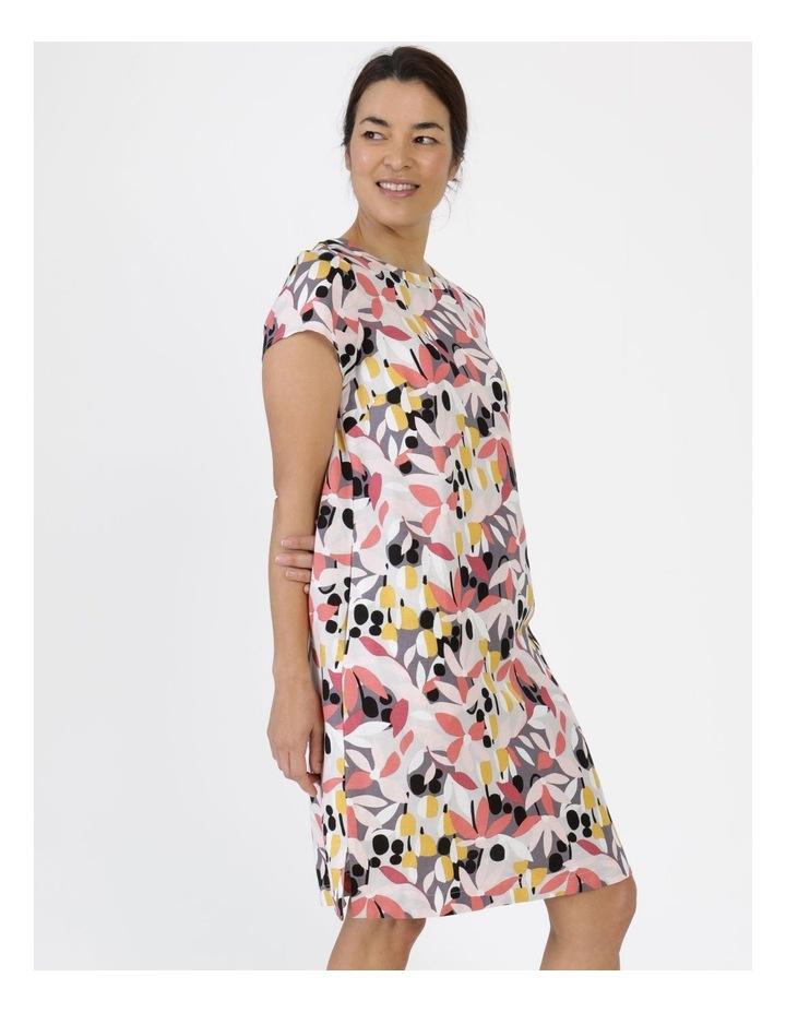 Short Cap Sleeve Side Splits & Pockets Dress Pinks/Black Print image 2