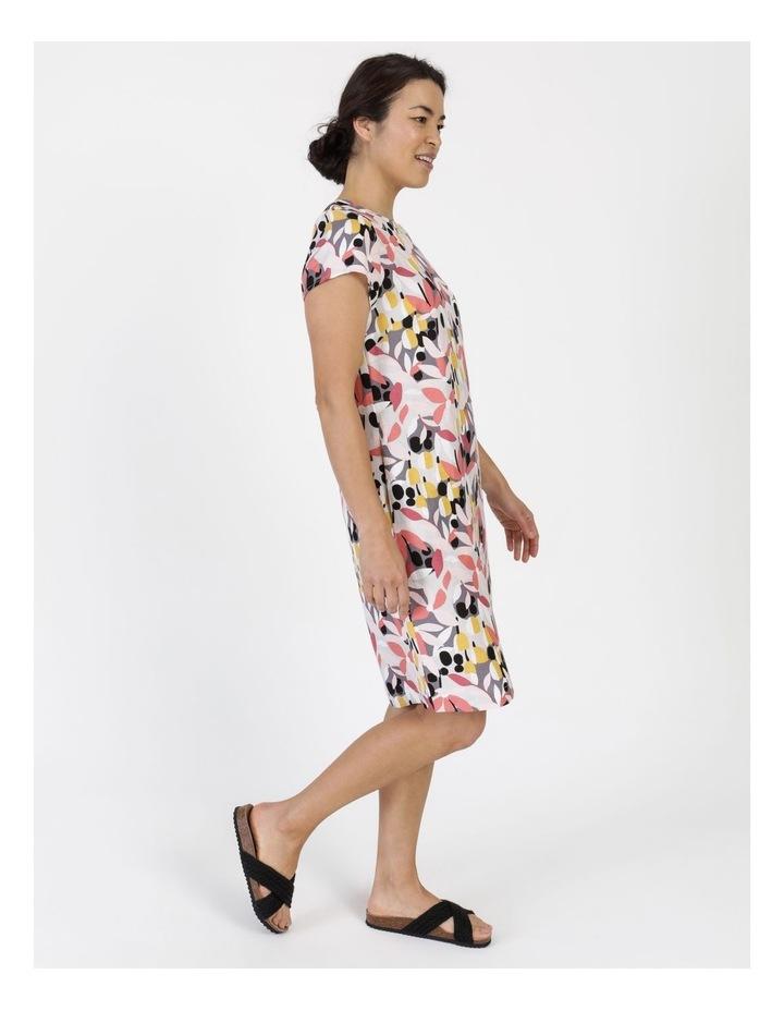 Short Cap Sleeve Side Splits & Pockets Dress Pinks/Black Print image 3