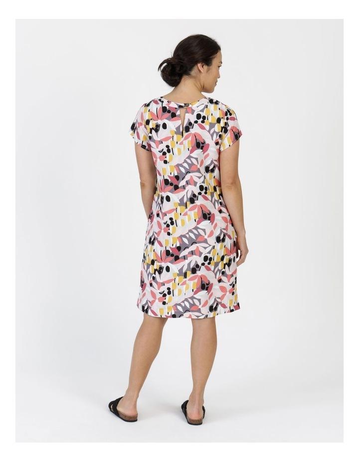 Short Cap Sleeve Side Splits & Pockets Dress Pinks/Black Print image 4