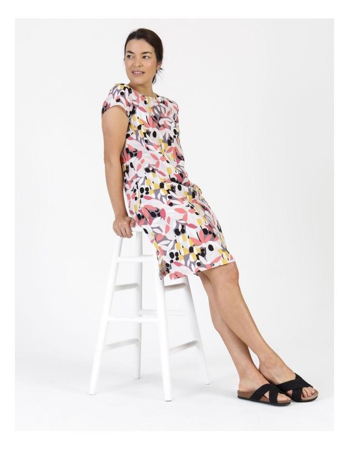 Short Cap Sleeve Side Splits & Pockets Dress Pinks/Black Print image 5