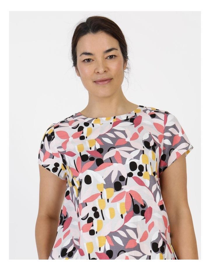 Short Cap Sleeve Side Splits & Pockets Dress Pinks/Black Print image 6
