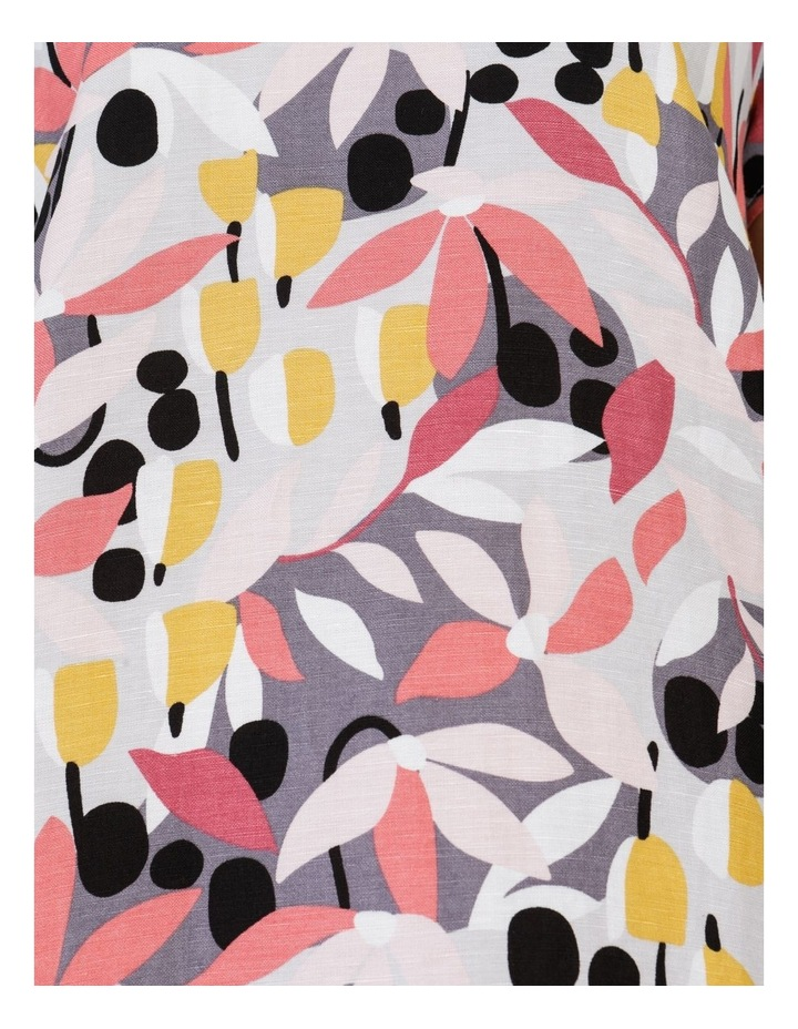 Short Cap Sleeve Side Splits & Pockets Dress Pinks/Black Print image 7