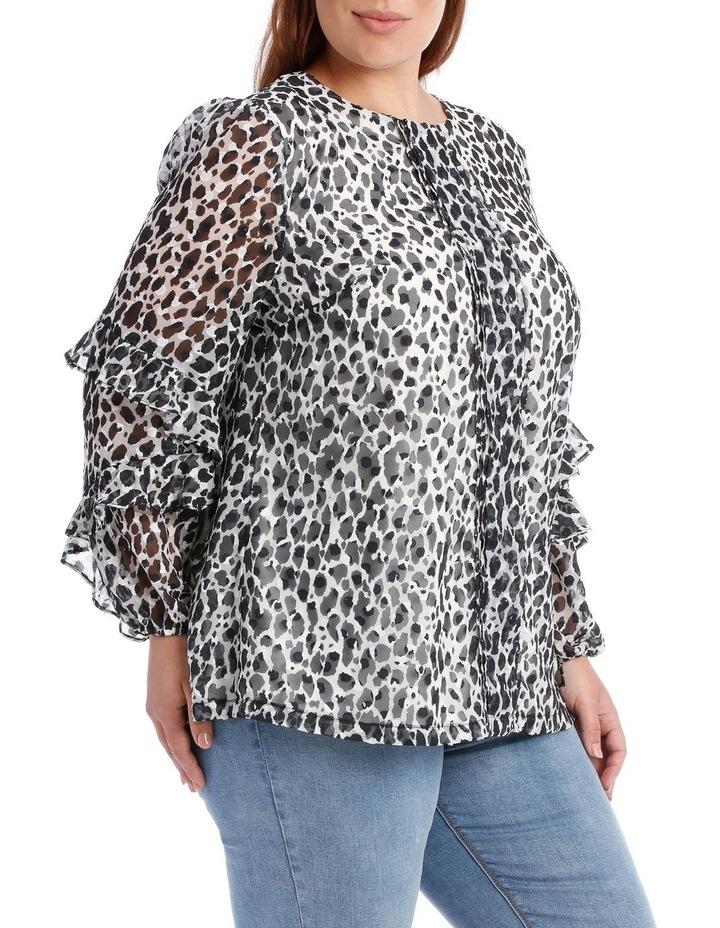 Wild Cheetah Frill Slv Top image 2