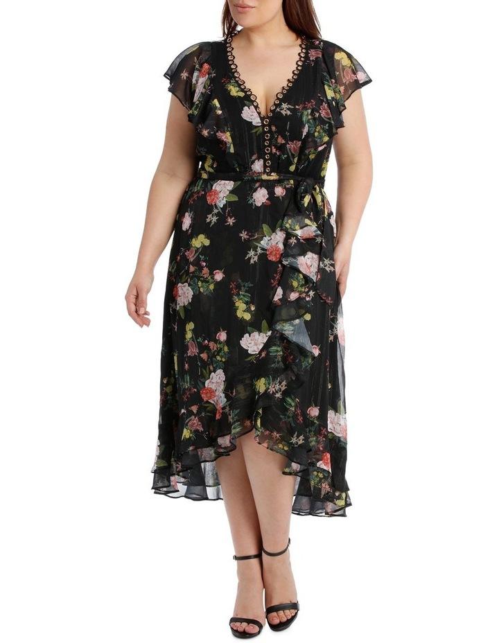 Black Mystique Wrap Midi Dress image 1