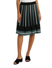 Leona by Leona Edmiston - Green And Black Jacquard A Line Skirt
