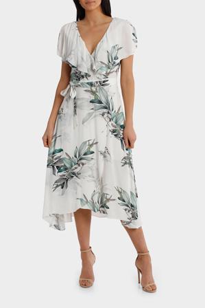 Leona by Leona Edmiston - Frill Neck Birdi White Print Midi Dress