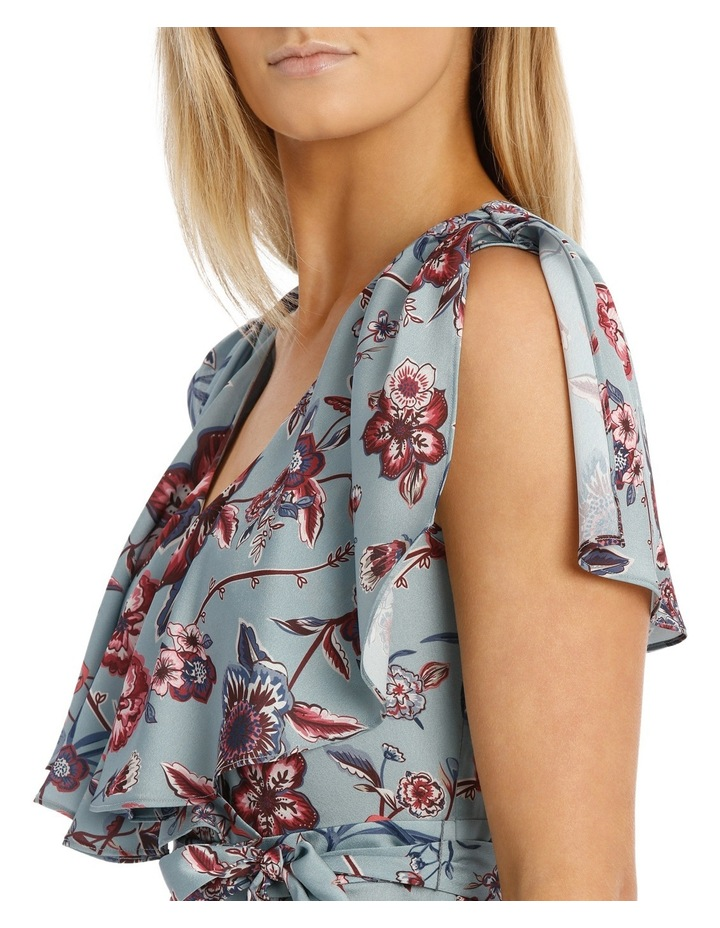 Winter Floral Flutter Sleeve Wrap Dress image 4