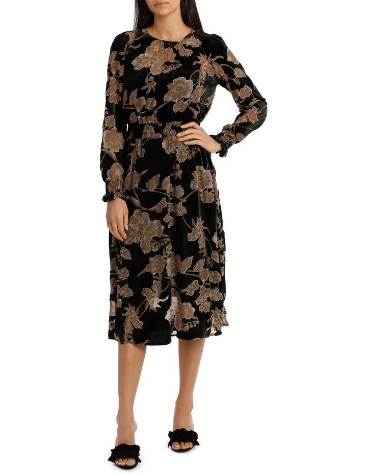 Ecru Velvet Burnout Midi  Dress image 1