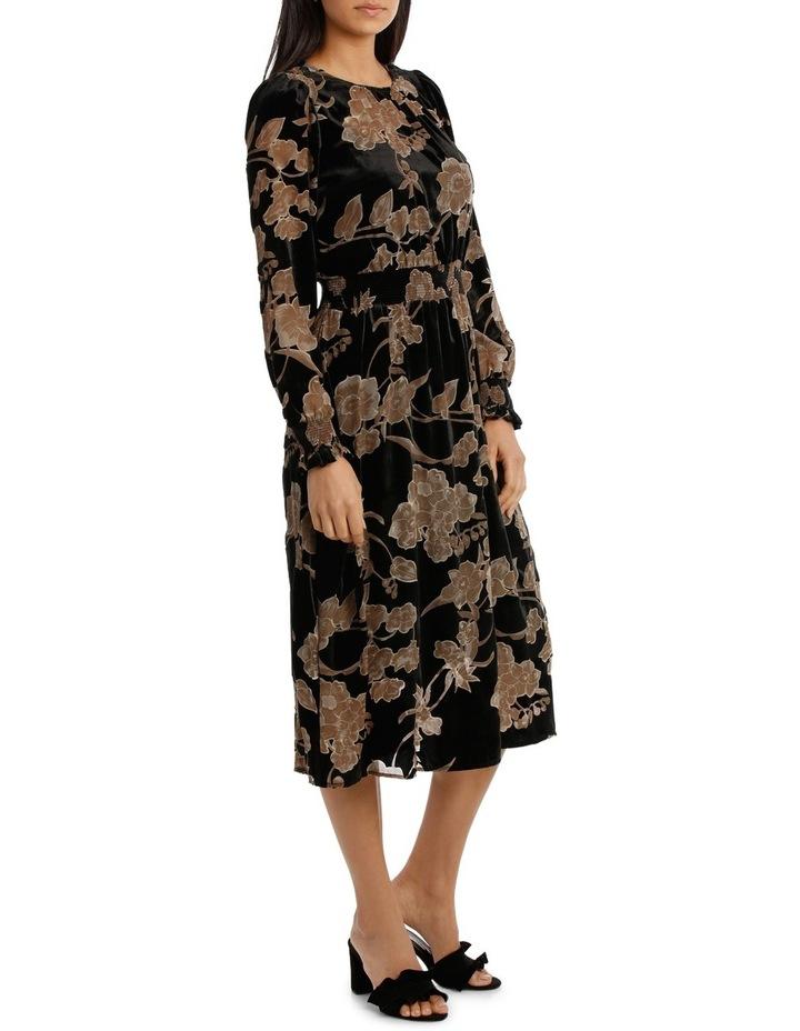 Ecru Velvet Burnout Midi  Dress image 2