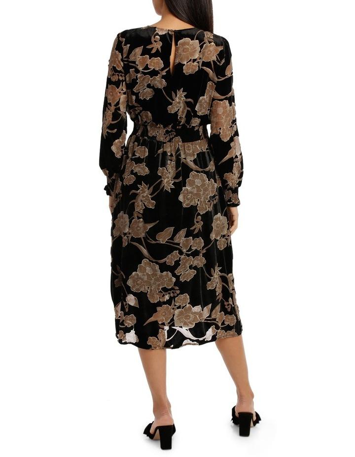 Ecru Velvet Burnout Midi  Dress image 3