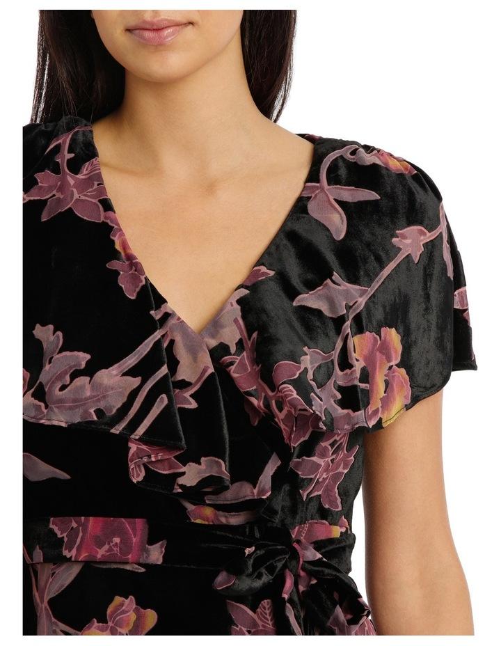 Burnout Pansy Wrap Midi Dress image 4