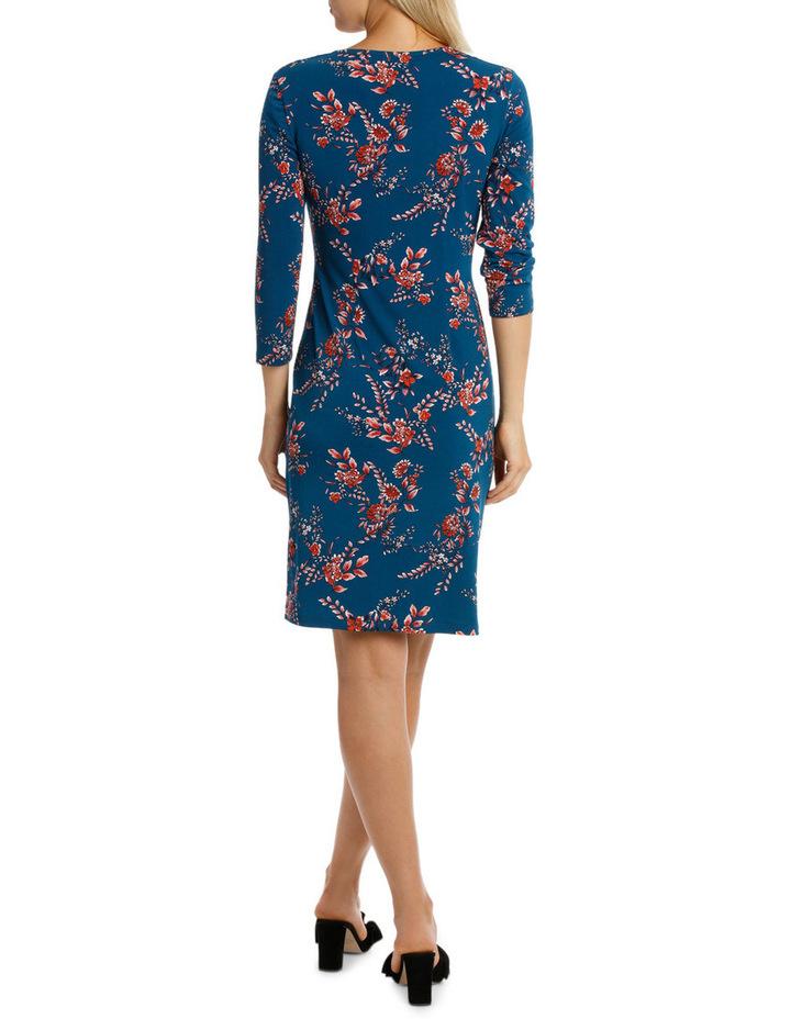 Denim Woodland Side Gather Dress 3/4 Sleeve image 3