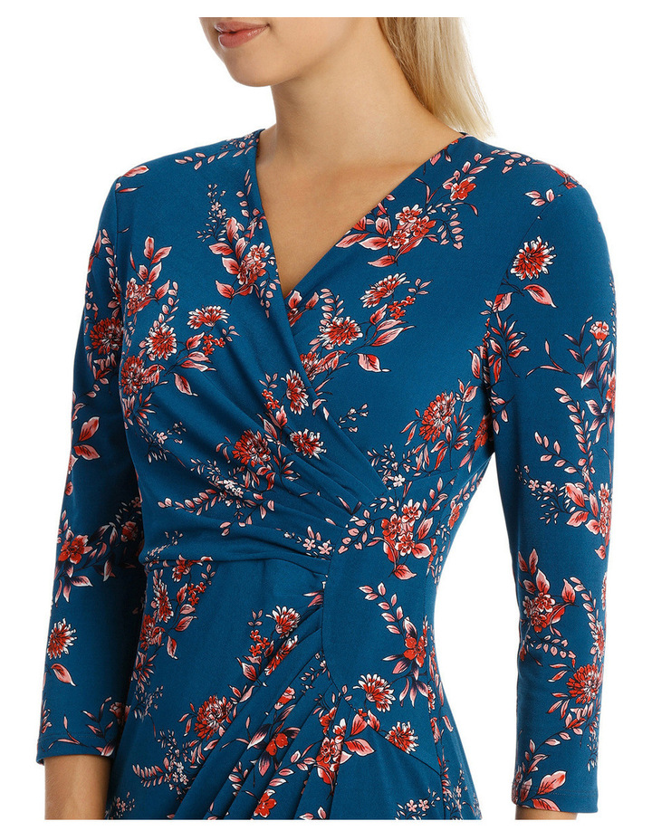Denim Woodland Side Gather Dress 3/4 Sleeve image 4
