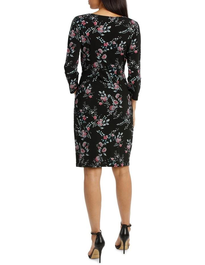 Black Woodland Side Gather Dress 3/4 Sleeve image 3