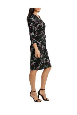 Leona by Leona Edmiston - Black Woodland Side Gather Dress 3/4 Sleeve