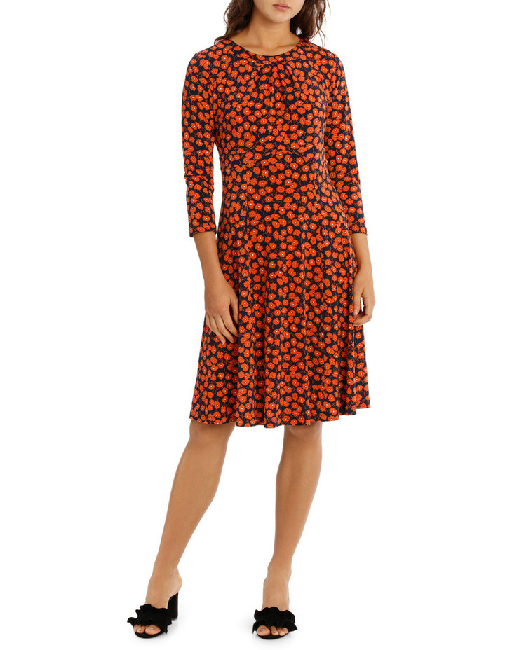 Red Daisy Ditsy Empire Line Dress 3/4 Sleeve image 1