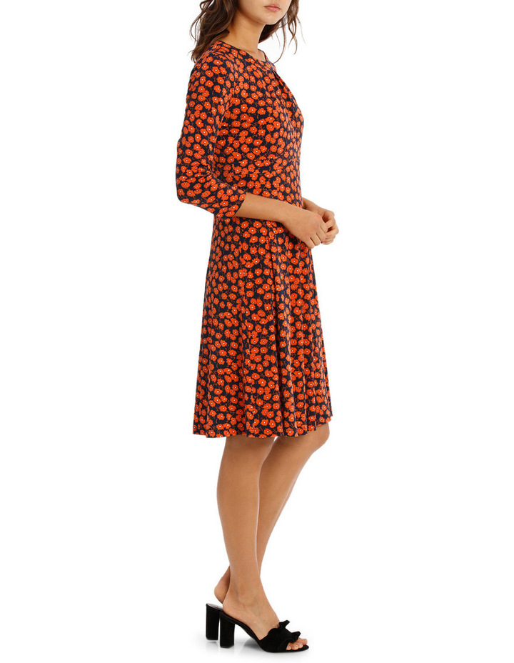 Red Daisy Ditsy Empire Line Dress 3/4 Sleeve image 2